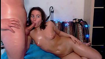gives white sloppy chick head Man horny in cam3