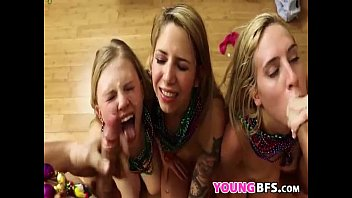 threesome horny is dudes having honey with girl Cums on her own face